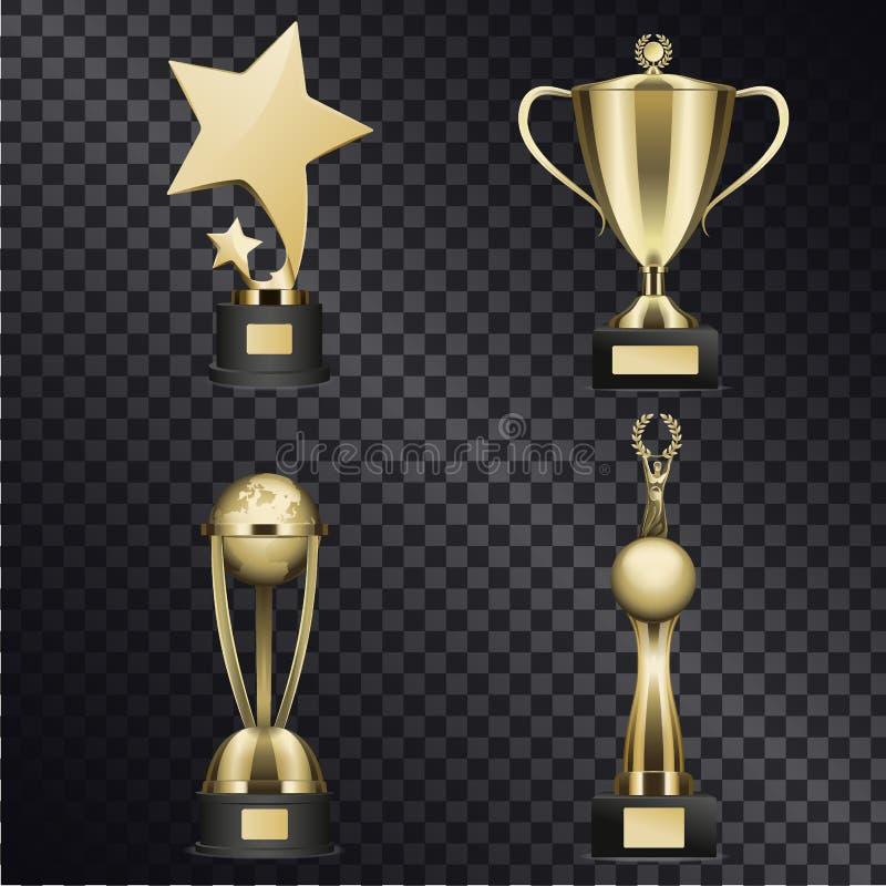 Золотой трофей придает форму чашки реалистическое собрание вектора бесплатная иллюстрация