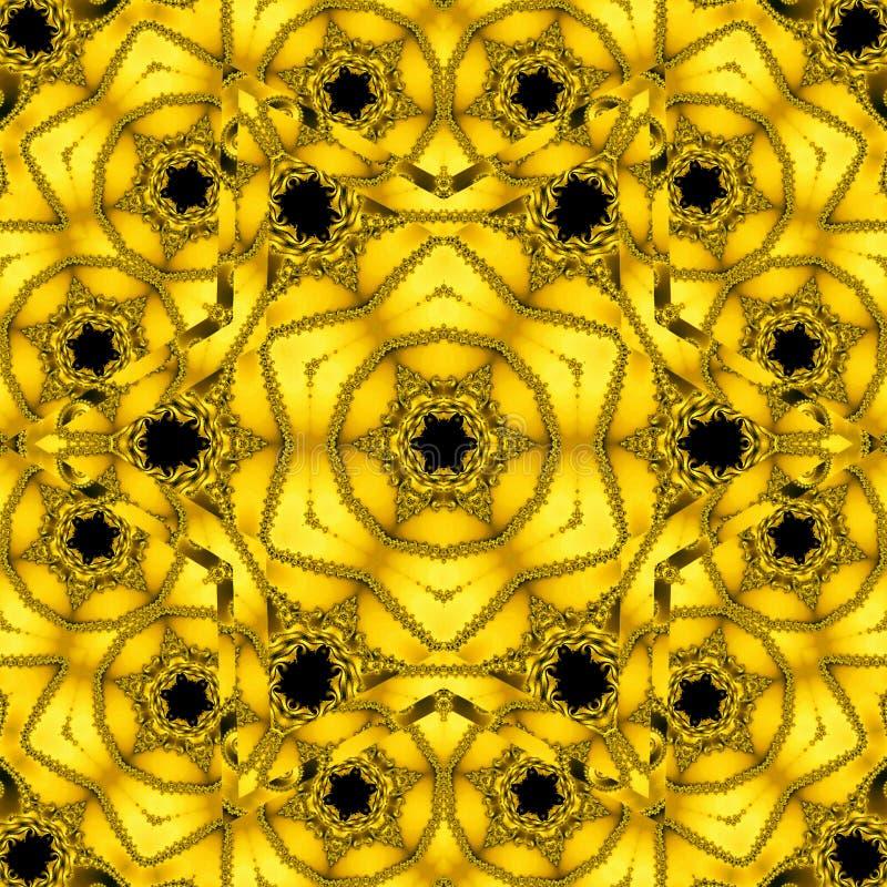 Золотой флористический калейдоскоп в форме мандалы солнца золота, геометрической фрактали бесплатная иллюстрация