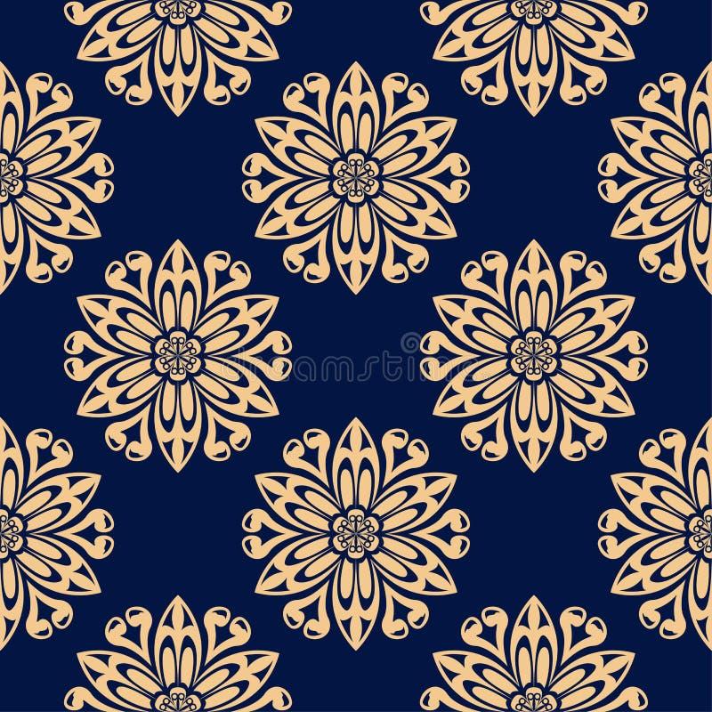 Золотой флористический элемент на синей предпосылке картина безшовная иллюстрация вектора