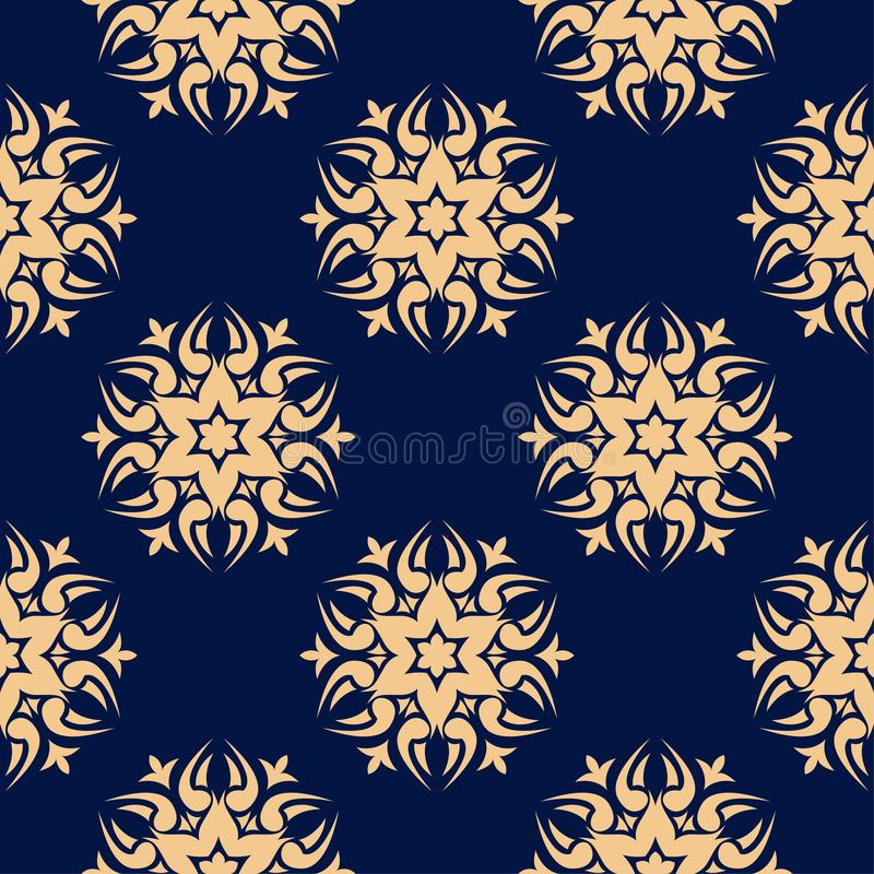 Золотой флористический элемент на синей предпосылке картина безшовная иллюстрация штока