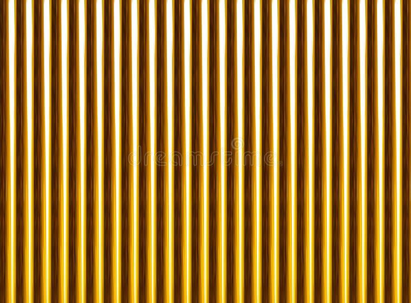 Золотой фон картины трубы яркий Строки габаритного изображения бесконечные вертикальные иллюстрация штока