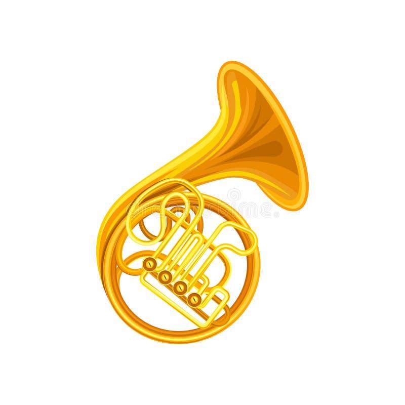 Золотой французский рожок Латунный музыкальный инструмент с спиральной трубкой, клапанами и flared колоколом Плоский элемент вект иллюстрация вектора