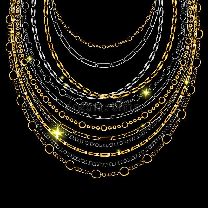 Золотой цепной шнурок шеи Вектор изолированный на черной предпосылке иллюстрация штока