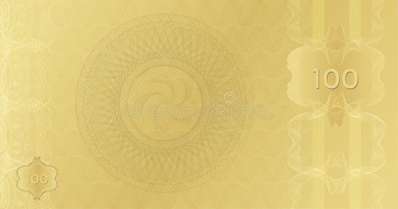 Золотой шаблон 100 банкноты с границей водяных знаков картины guilloche Дорогой ваучер подарочного купона Предпосылка годная к уп стоковые изображения