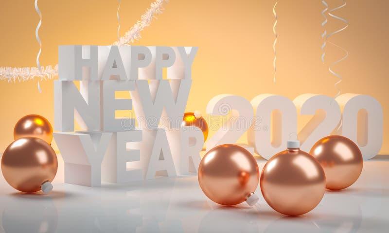 Золотой шарик рождества и счастливый Новый Год 2020 бесплатная иллюстрация