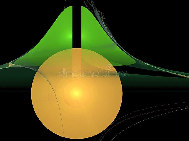 Золотой шар и зеленый треугольник иллюстрация штока