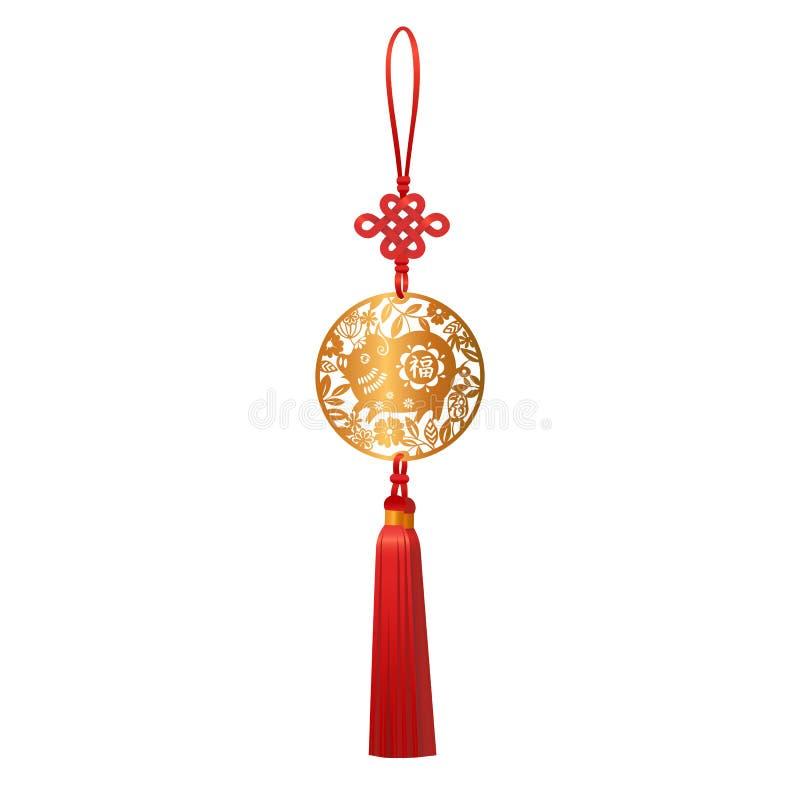 Золотой шкентель со свиньей и узлом везения Символ зодиака китайского Нового Года традиционный дизайна бумажного отрезка 2019 кру бесплатная иллюстрация