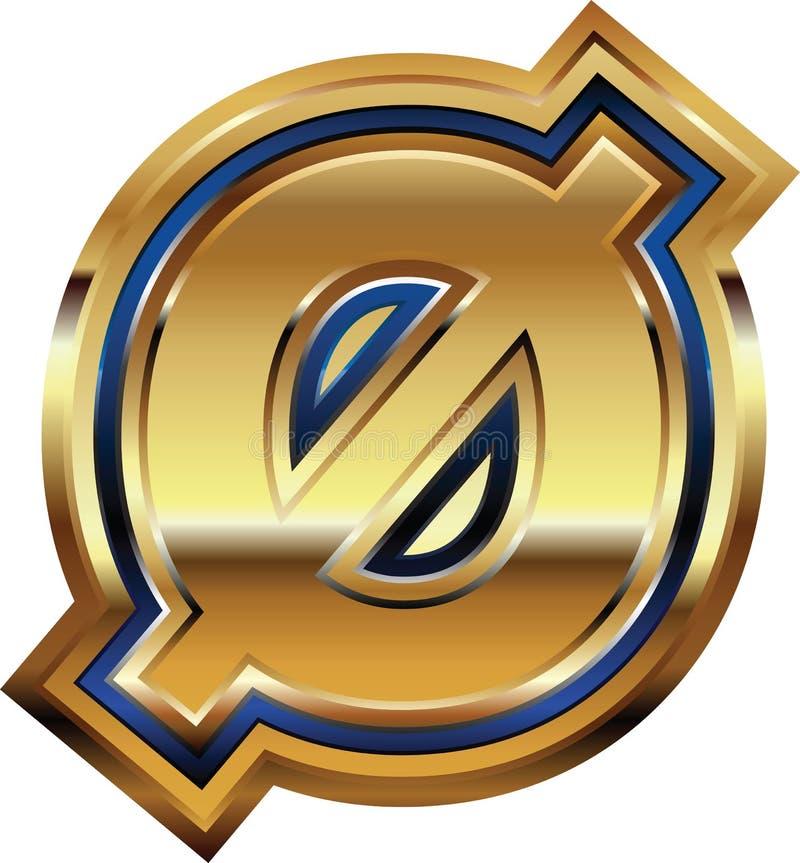 Золотой шрифт 0 иллюстрация вектора
