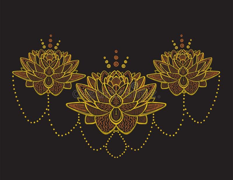 Золотой эскиз цветков лотоса иллюстрация вектора