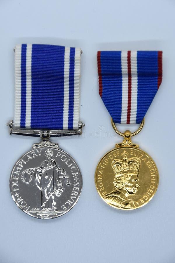 Золотой юбилей и длинные медали обслуживания стоковое изображение rf