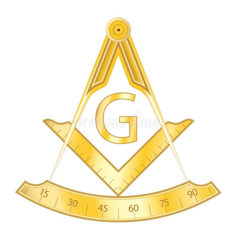 Золотой masonic символ квадрата и компаса бесплатная иллюстрация