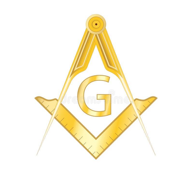Золотой masonic символ квадрата и компаса иллюстрация штока