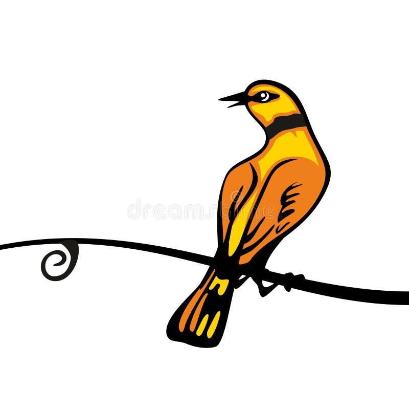 Золотой Oriolе садить на насест на ветви Значок цвета вектора бесплатная иллюстрация