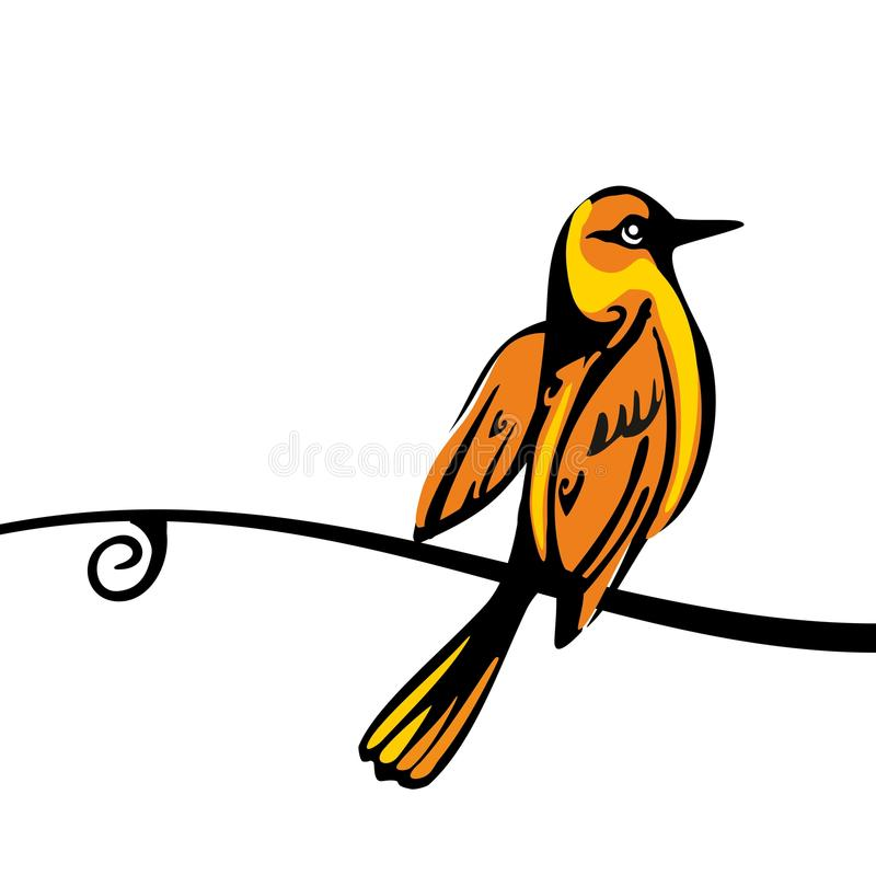 Золотой Oriolе садить на насест на ветви Значок цвета вектора иллюстрация вектора