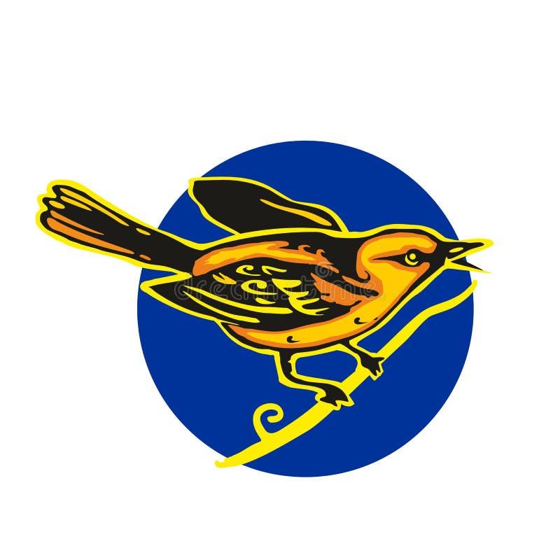 Золотой Oriolе садить на насест на ветви Иллюстрация вектора плоская бесплатная иллюстрация