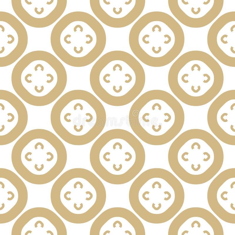 Золото вектора и картина белого конспекта флористическая безшовная Простые золотые цветки иллюстрация штока