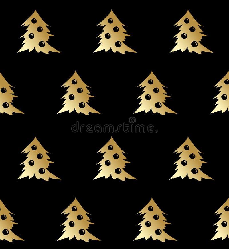 Золото вектора картины рождественской елки безшовное на черноте иллюстрация штока