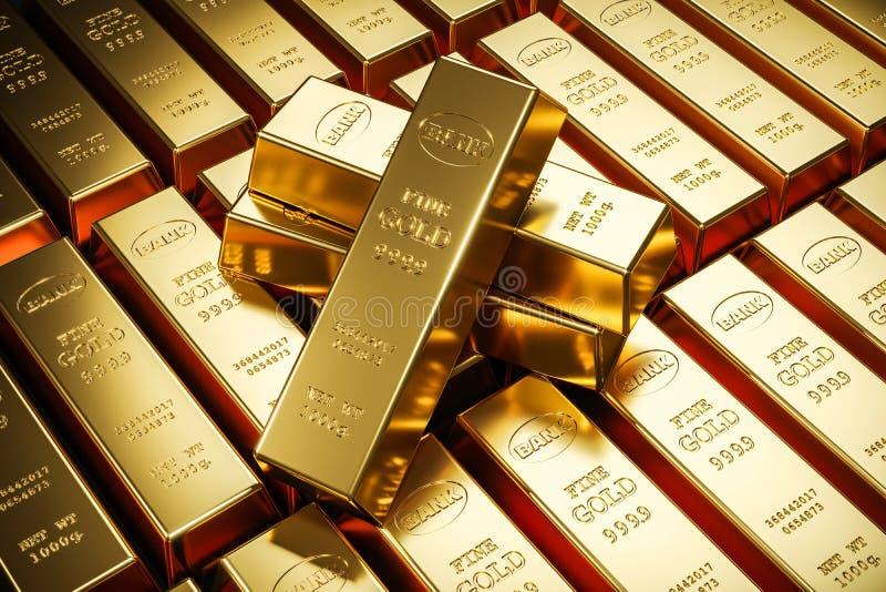 Золото в слитках в банковском хранилище хранение 3d иллюстрация штока