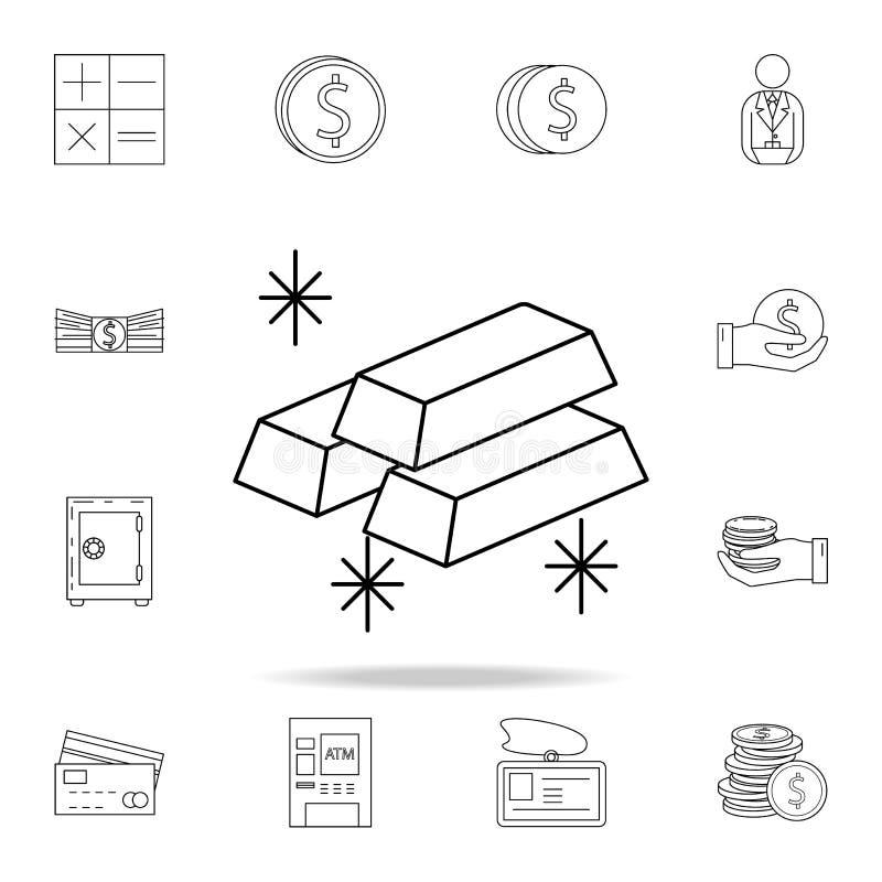 золото в слитках значка  Наградной качественный значок графического дизайна Один из значков собрания для вебсайтов, сеть иллюстрация вектора