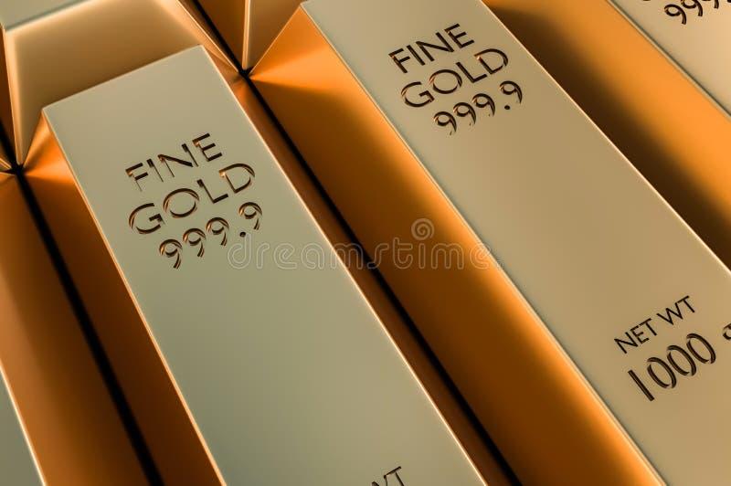 Золото в слитках или слиток - финансовая концепция успеха и вклада иллюстрация штока