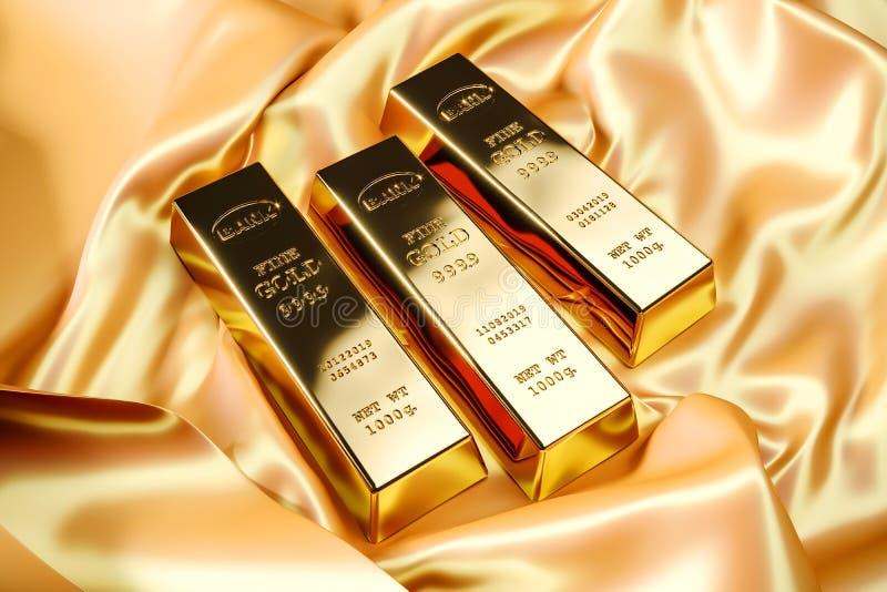 Золото в слитках на желтой ткани шелка 3d бесплатная иллюстрация