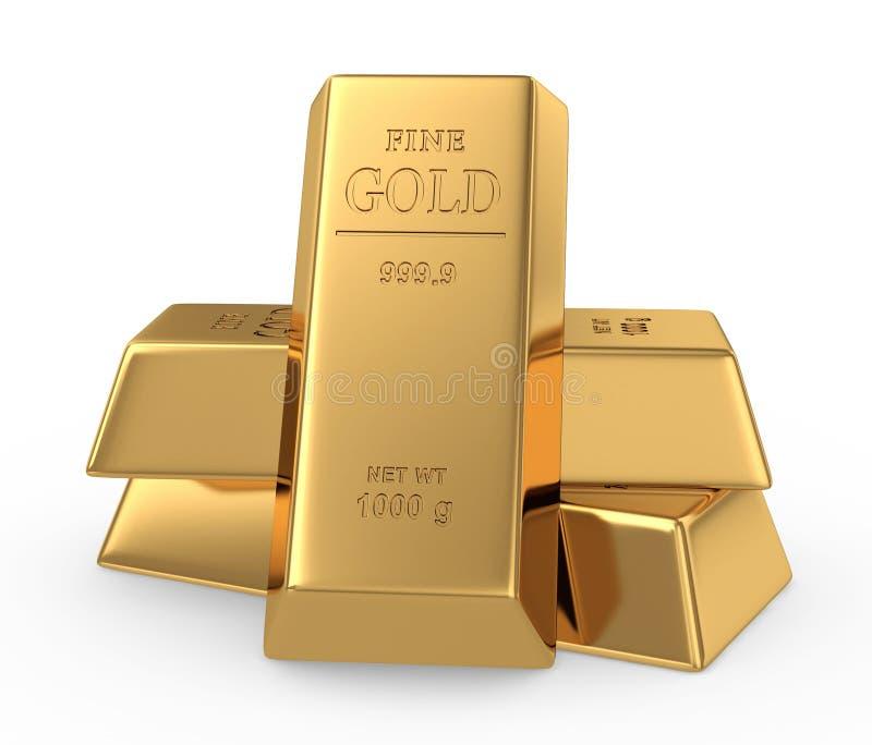 Золото в слитках принципиальной схемы 3d иллюстрация вектора