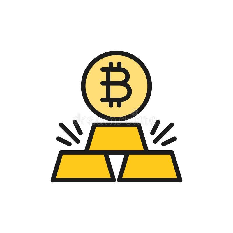 Золото в слитках с bitcoin, значком цвета cryptocurrency плоским бесплатная иллюстрация