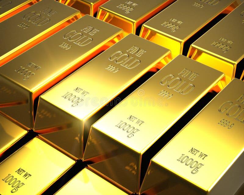 золото в слитках иллюстрация штока