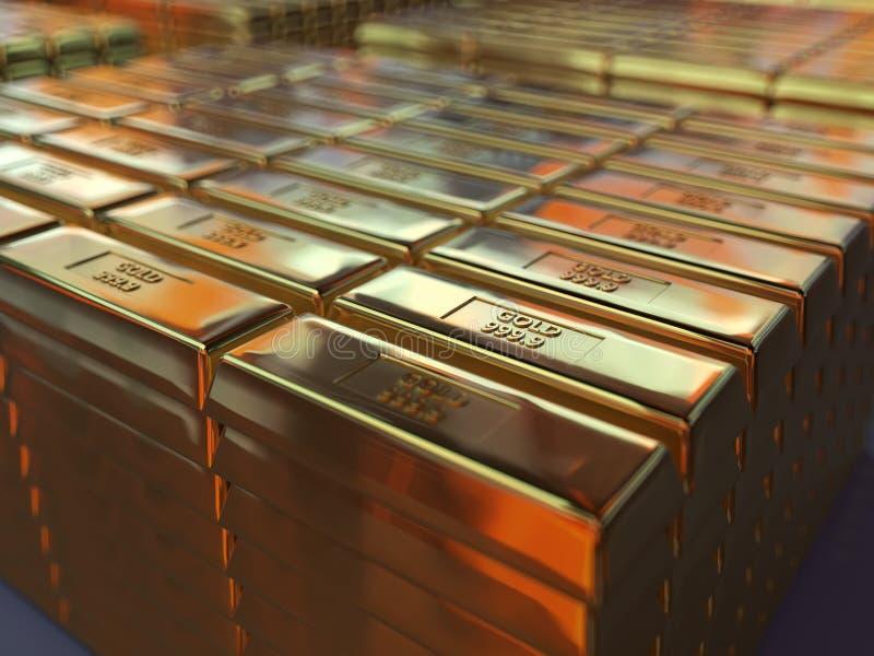 Золото в слитках в storehouse иллюстрация вектора