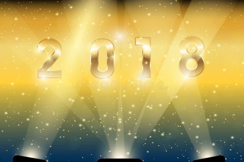 Золото 2018 в фарах стоковые фотографии rf