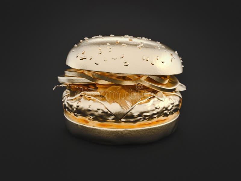 Золото гамбургера на черной предпосылке иллюстрация штока