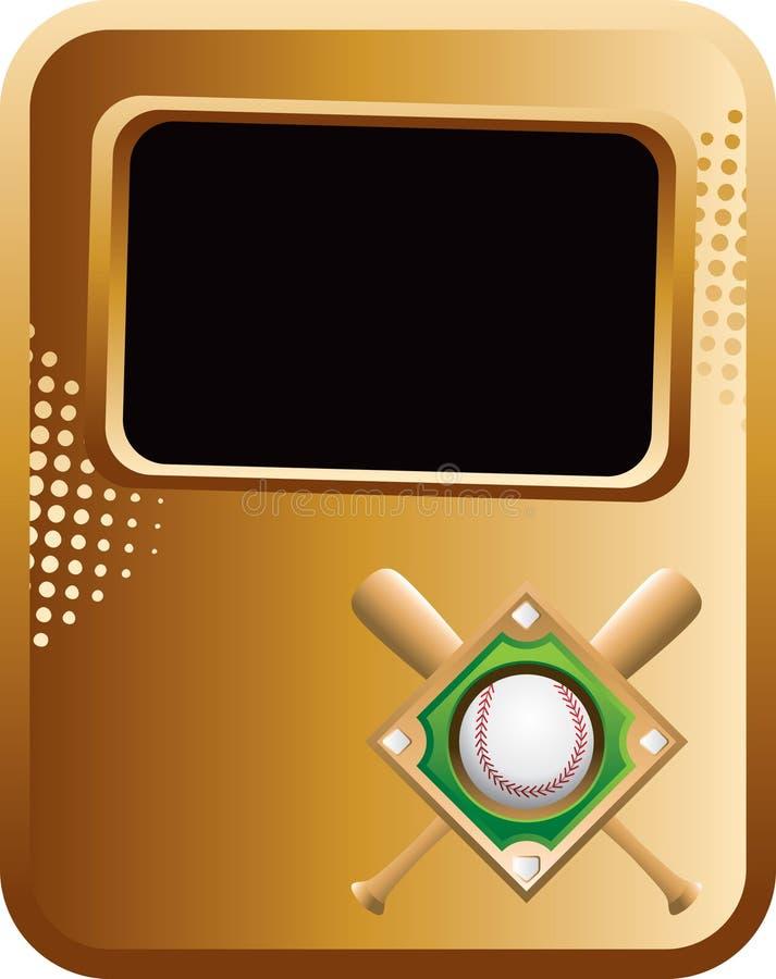 золото диаманта бейсбольных бита знамени иллюстрация вектора