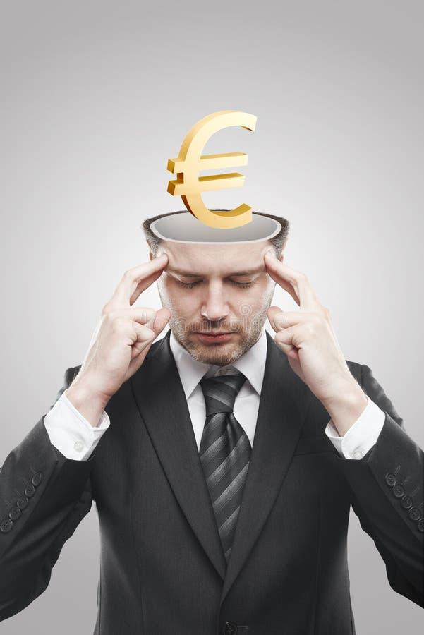 золото евро 3d внутри человека запомнило открытый знак стоковое фото rf