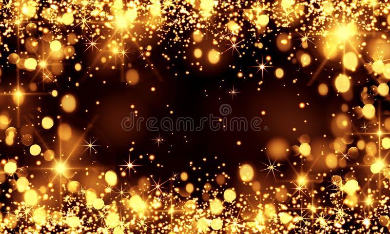 Золото запачкало bokeh предпосылки, яркий блеск, блеск звезды, праздник, Chri иллюстрация вектора