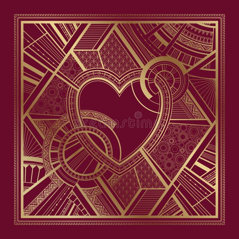 Золото и бургундская карта с орнаментом сердца и стиля Арт Деко геометрическим иллюстрация вектора
