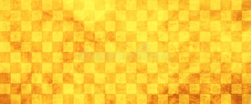Золото и желтая предпосылка, старая огорченная винтажная checkered предпосылка картины блока с мягкой текстурой grunge, теплая ос стоковая фотография rf