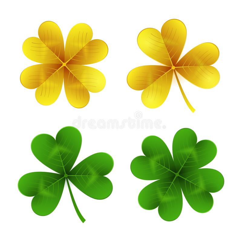 Золото и зеленые листья клевера изолированные на белой предпосылке Shamrock дня St. Patrick и 4-листанный традиционный Ирландский иллюстрация вектора
