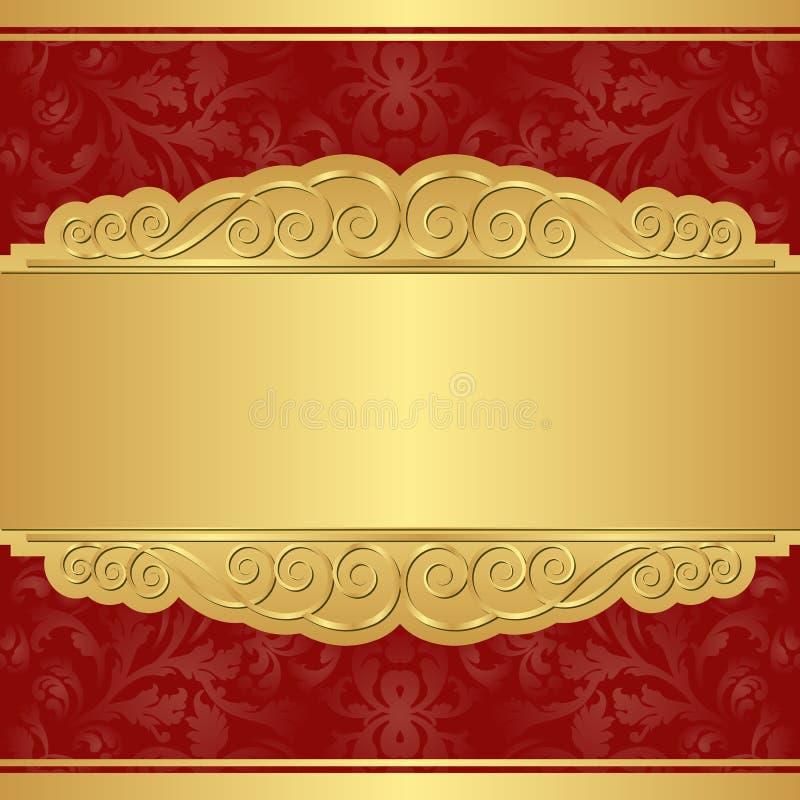 Золото и красная предпосылка иллюстрация штока