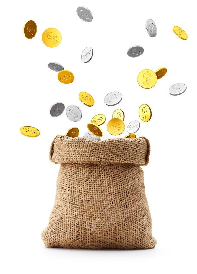Золото и серебряные монеты разрывая вне от мешка иллюстрация штока