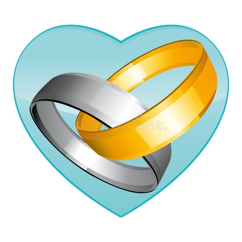 Золото 2 и серебряные обручальные кольца Зеленое сердце Значок вектора иллюстрация вектора