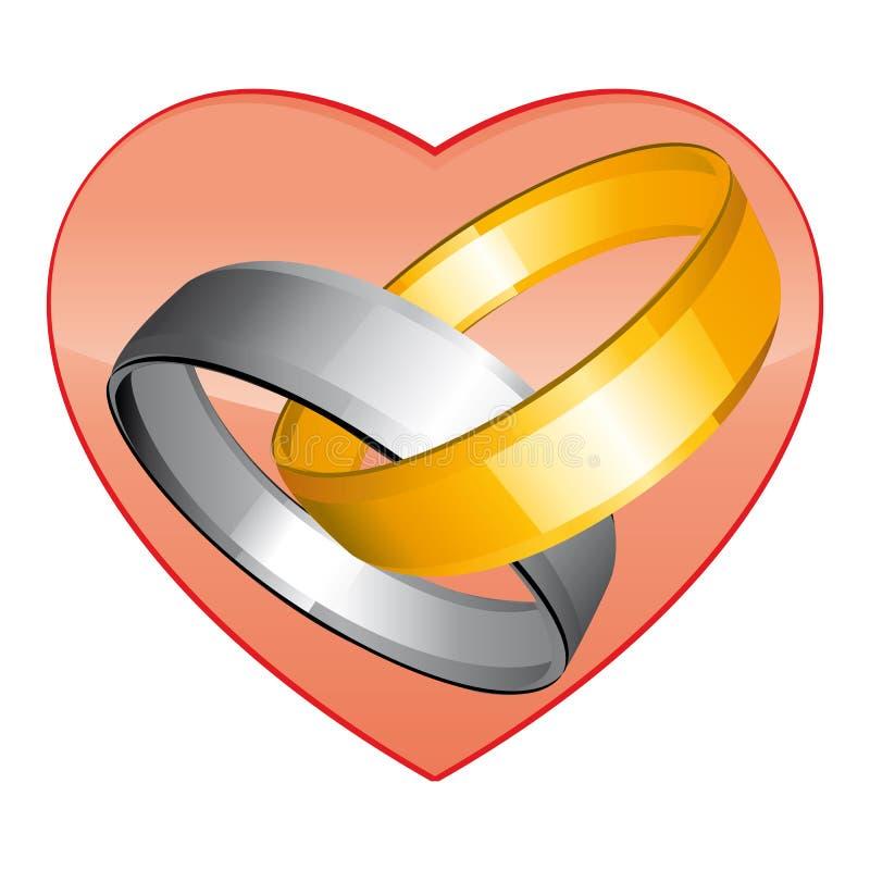 Золото 2 и серебряные обручальные кольца Красное сердце Значок вектора иллюстрация вектора
