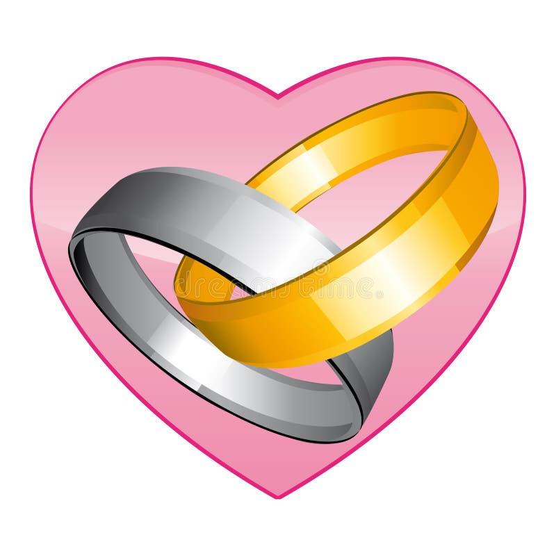 Золото 2 и серебряные обручальные кольца Розовое сердце Значок вектора бесплатная иллюстрация