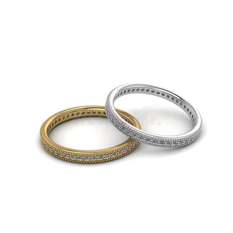 Золото и серебр с изображением обручальных колец изолированным белым background-3D диаманта бесплатная иллюстрация