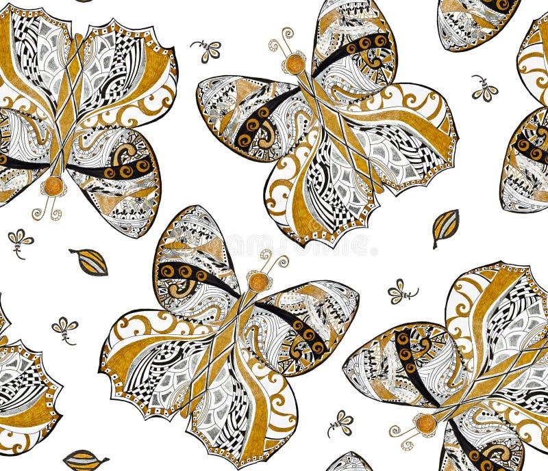 Золото, картина серебряной бабочки безшовная на белой предпосылке Абстрактные орнаментальные бабочки покрасили золото, серебр, че иллюстрация вектора