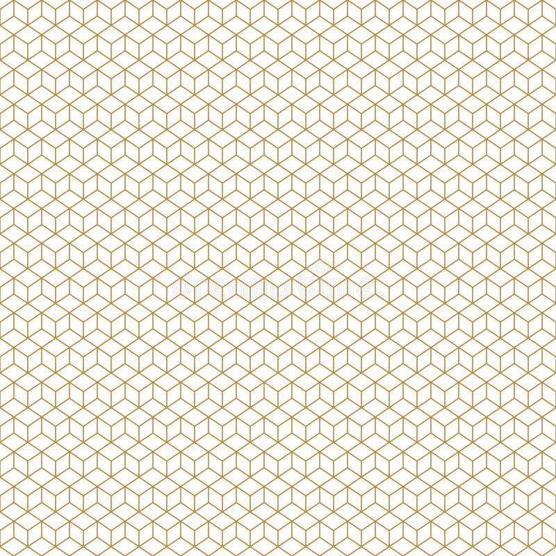 Золото картины вектора кубов стиля Арт Деко безшовное геометрическое иллюстрация штока