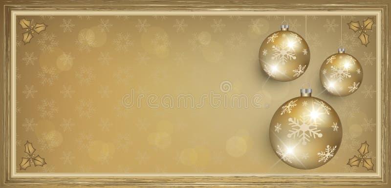Золото карточки подарка ваучера с Рождеством Христовым иллюстрация вектора