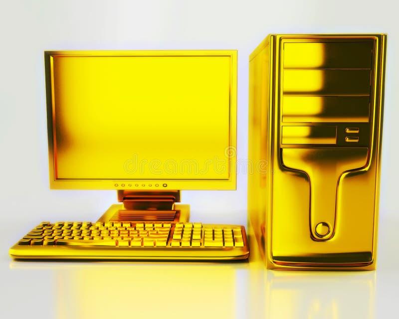 золото компьютера иллюстрация вектора