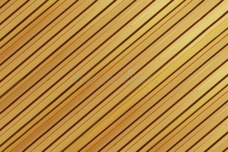 Золото металлического листа ребристое гальванизировало сияющий лист раскосные параллельные линии покрыли падение основания дождя  стоковое изображение rf