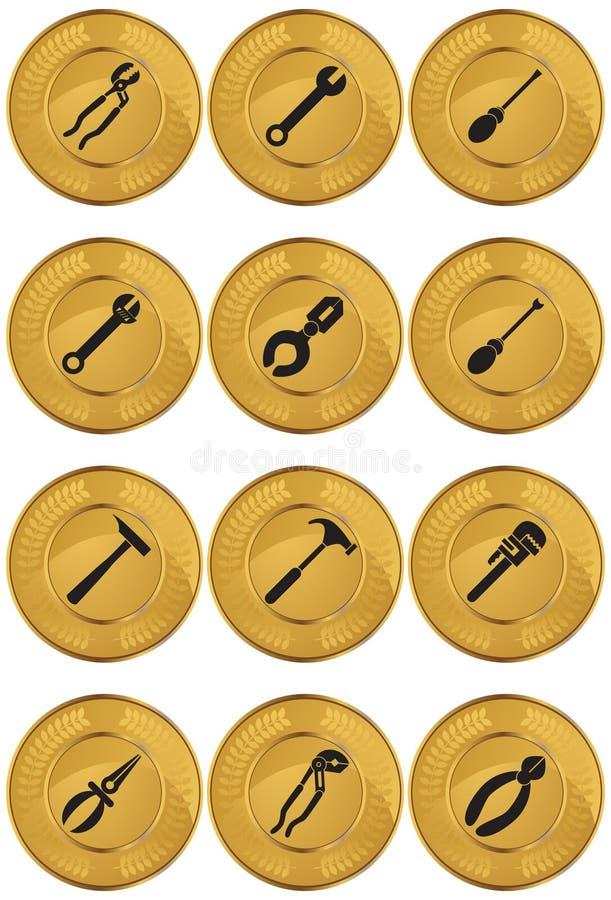 золото монетки кнопки оборудует сеть иллюстрация вектора