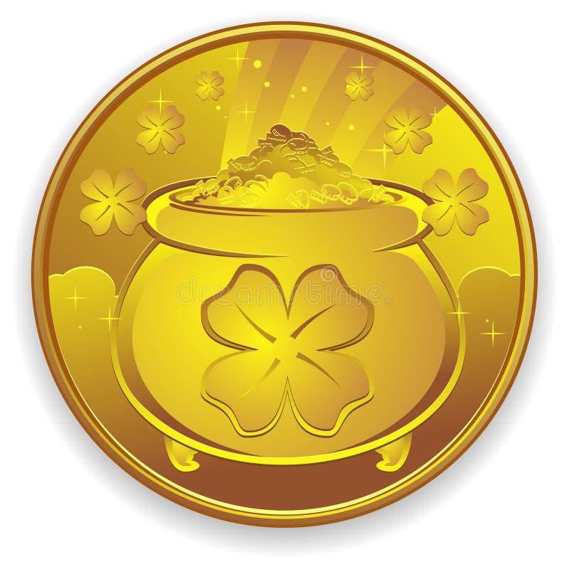 золото монетки удачливейшее иллюстрация вектора